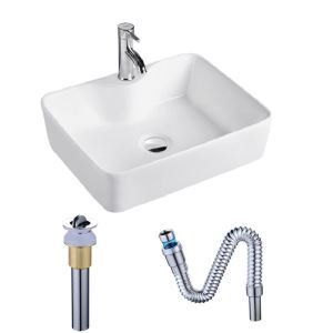 Contemporary White Basin Rectangle Ceramic Bathroom Sink(with Faucet Hole)