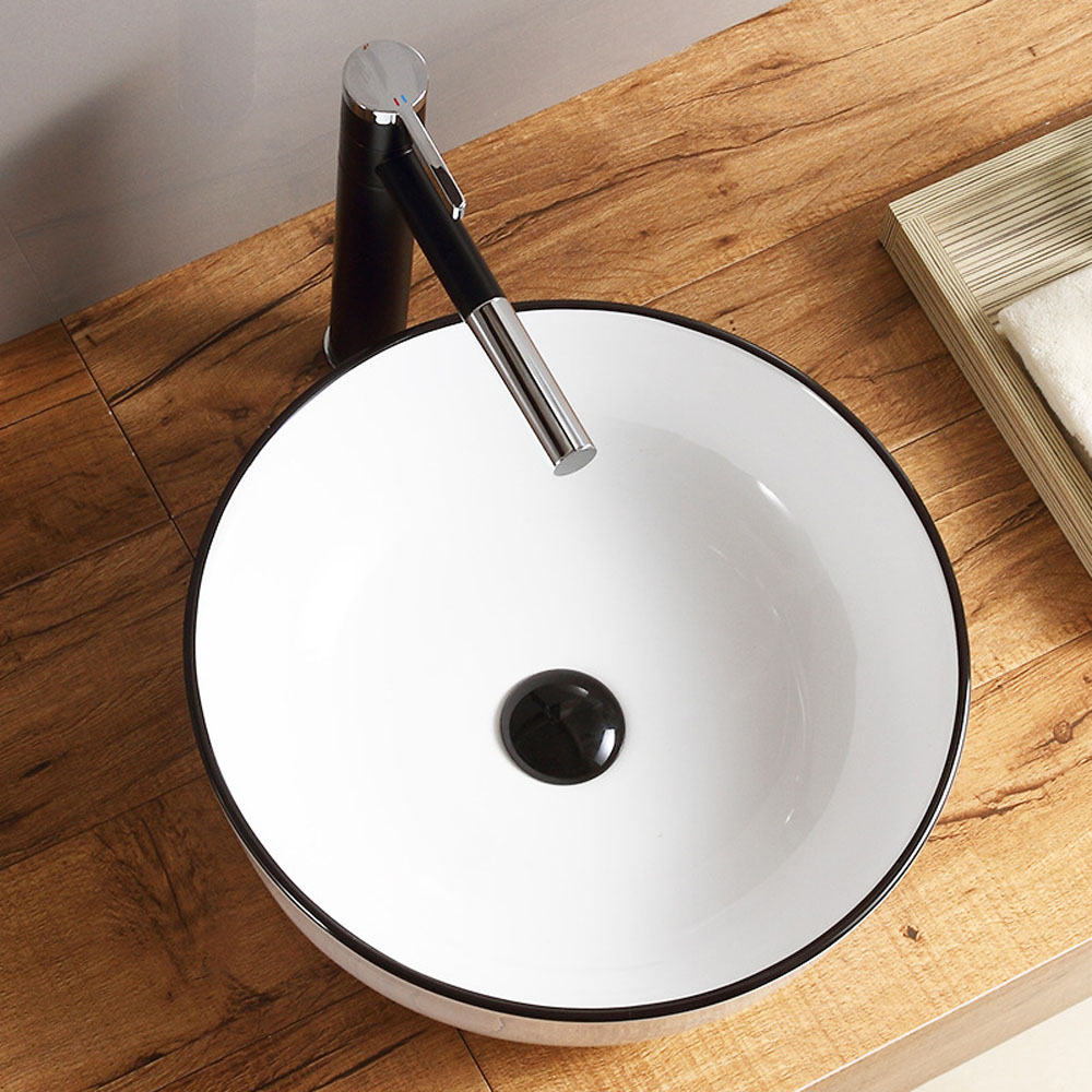 Modern White Ceramic Basin Simple Round Vessel Sink For Bathroom Without Faucet