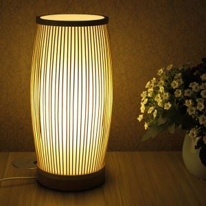 Simple Bamboo Table Lamp Round Desk Light Tearoom Decorative Light