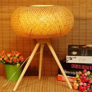 Tripod Bamboo Table Lamp Modern Round Desk Lamp Living Room Dining Room Decorative Lighting