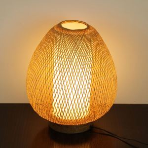 Japanese Simple Table Lamp Egg Shape Bamboo Desk Lamp Bedside Hand Woven Lighting