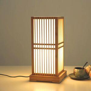 Japanese Square Table Lamp Creative Bamboo Desk Lamp Bedroom Study Room Decorative Lighting