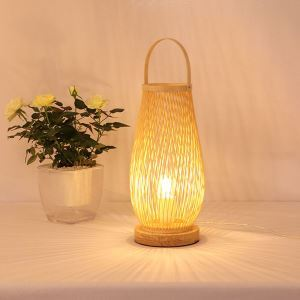 Elliptical Bamboo Basket Table Lamp Hand Woven Special Desk Lamp Hotel Room Tearoom Lighting