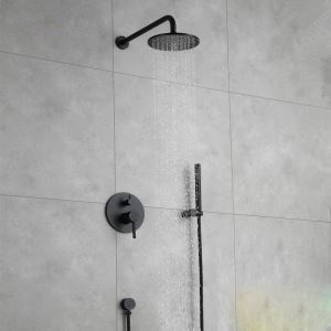 Elegant Shower Faucet Baking Vanish In-Wall Black Bathroom Shower Faucet