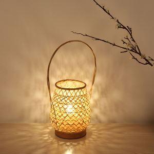 Bamboo Basket Table Lamp Modern Creative Bedside Desk Lamp Bedroom Study Room Teahouse Lighting