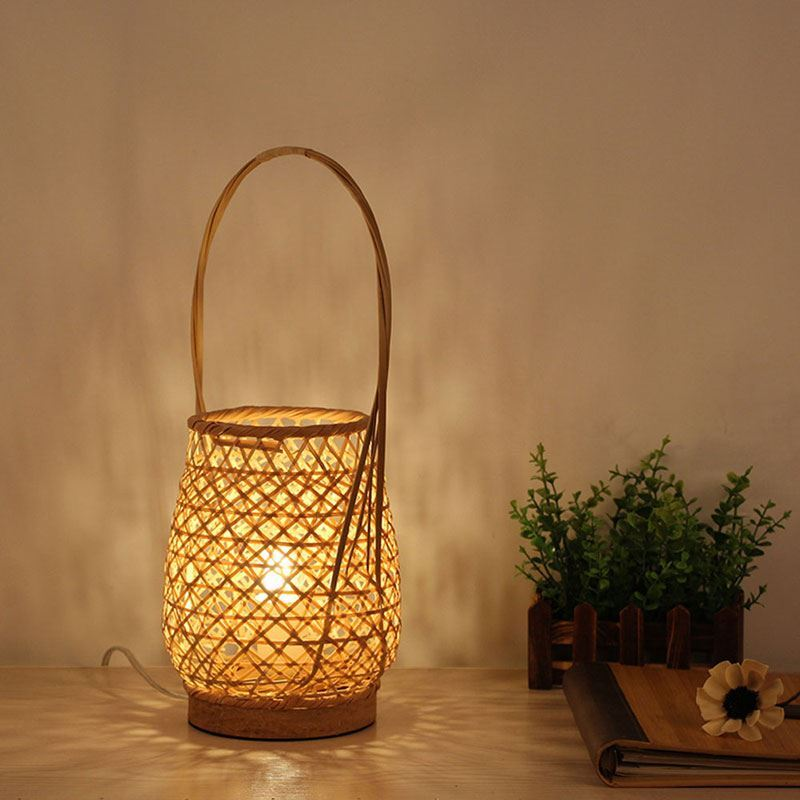Bamboo Basket Table Lamp Modern Creative Bedside Desk Lamp