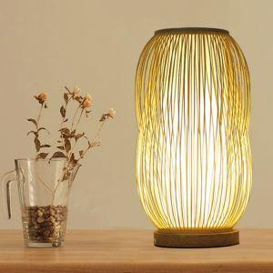 Simple Bardian Table Lamp Creative Bamboo Desk Lamp Study Room Tearoom Lighting