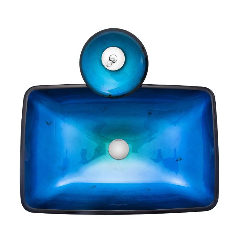 Blue Colored Glass Basin Rectangular Tempered Glass Vessel Sink For Bathroom With Waterfall Faucet