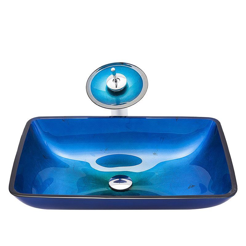 Nice Blue Bathroom Sink Tempered Glass Vessel Round Sink With Waterfall Faucet