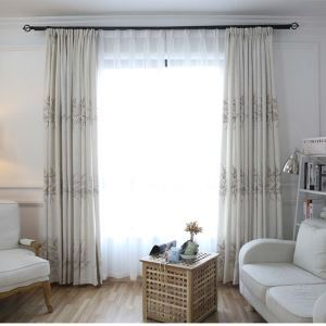 Fresh Fernwort Embroidery Curtain Modern Simple Plants Curtains Living Room Bedroom Study Semi Blackout Fabric(One Panel)