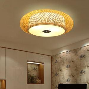 Modern Bamboo Flush Mount Chinese Woven Ceiling Light Living Room Bedroom Study Dining Room Lighting