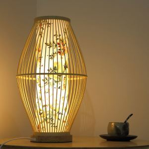 Japanese Creative Table Lamp Waist Drum Shape Bamboo Desk Lamp Creative Decorative Lighting