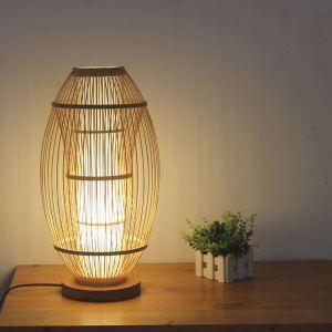 Elliptical Bamboo Table Lamp Japanese Creative Desk Lamp Bedside Writing Desk Light