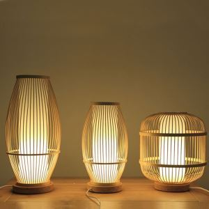 Hollow Shade Bamboo Table Lamp Chinese Simple Bedside Desk Lamp Teahouse Lighting