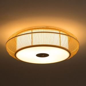 Chinese Special Bamboo Flush Mount Creative Japanese Round Ceiling Light Living Room Bedroom Dining Room Light