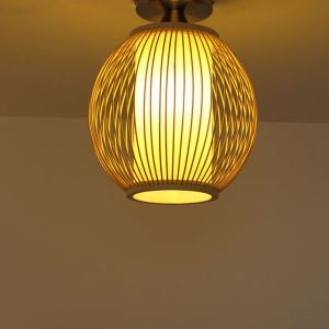 Unique Semi Flush Mount Creative Round Bamboo Ceiling Light Porch Hallway Cloakroom Lighting
