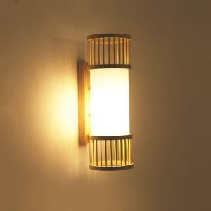 Vertical Bamboo Wall Light Creative Round Wall Sconce Bedside Stairs Hallway Lighting
