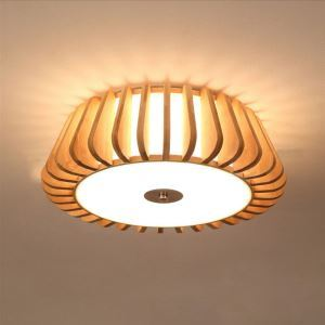 Nordic Round Flush Mount Creative Bamboo Ceiling Light Living Room Bedroom Study Lighting