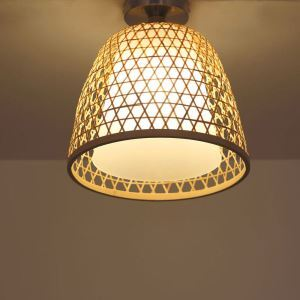 Bamboo Semi Flush Mount Creative Round Ceiling Light Vestibule Balcony Hallway Cloakroom Lighting