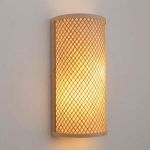 Semi-cylindrical Bamboo Wall Light Creative Bedside Wall Sconce Stairs Hallway Rural Lighting