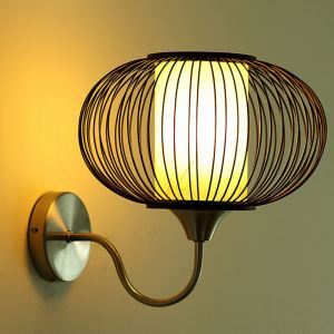 Round Lantern Wall Light Special Bamboo Wall Sconce Modern Decorative Lighting