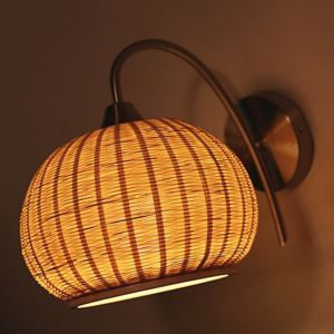 Large Cage Wall Light Round Bamboo Wall Sconce Bedside Hallway Decorative Lighting