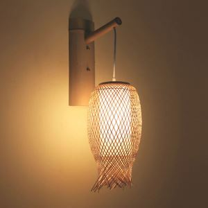 Downward Bamboo Wall Light Rural Round Wall Sconce Bedside Hallway Teahouse Creative Light
