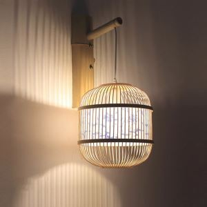 Cage Design Wall Light Creative Bamboo Hanging Wall Sconce Bedside Decorative Light