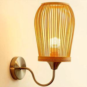 Bamboo Lantern Wall Sconce Creative Round Wall Light Living Room Bedroom Study Lighting