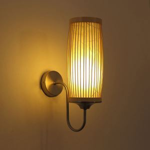 Waist Drum Design Wall Light Creative Bamboo Wall Sconce Bedside Stairs Rural Lighting