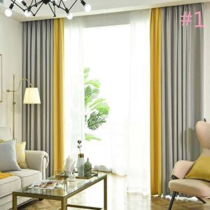 Double Colors Splicing Curtain Modern Simple Semi Blackout Curtain Living Room Bedroom Fabric(One Panel)