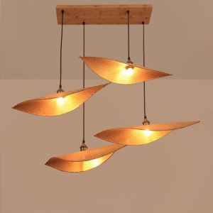 Creative Leaf Pendant Light Contemporary Bamboo Pendant Light Living Room Bedroom Tearoom Lighting