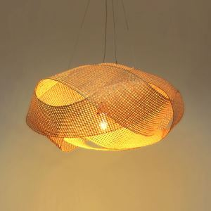 Modern Twisted Pendant Light Creative Bamboo Pendant Light Living Room Bedroom Study Lighting