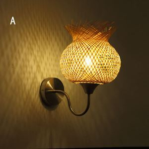 Special Bamboo Wall Sconce Creative Round Wall Light Bedside Hallway Loft Flower Lighting