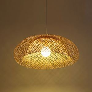 Creative Bamboo Pendant Light Simple Dome Pendant Light Living Room Lobby Hotel Room Lighting