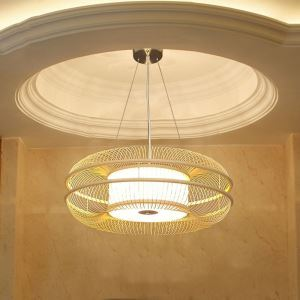 Round Hollow Pendant Light Japanese Bamboo Pendant Light Living Room Bedroom Lighting