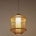 Bamboo Cage Pendant Light Japanese Simple Pendant Light Living Room Bedroom Study Hallway Lighting