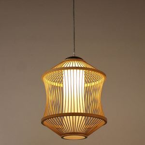 Bamboo Cage Pendant Light Japanese Simple Pendant Light Living Room Bedroom Study Hallway Lighting
