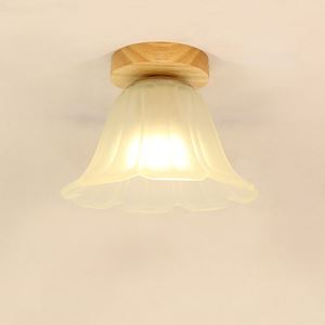 Nordic Flower Ceiling Light Semi Flush Mount Wooden Light Living Room Bedroom Study Lighting