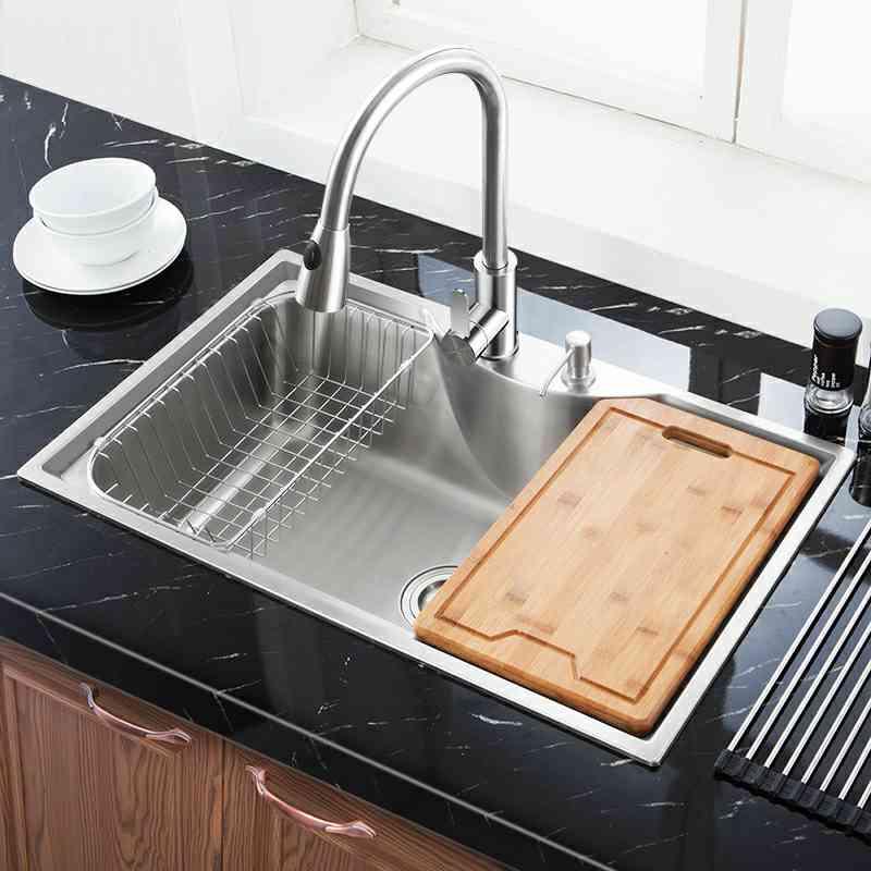 Modern Kitchen Sink Overmount 304 Stainless Steel Single
