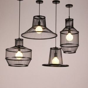 Industrial Geometry Pendant Light Retro Bamboo Pendant Light Dining Room Office Coffeehouse Lighting
