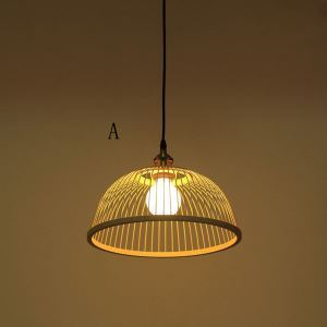 Japanese Bamboo Pendant Light Hand Woven Pendant Light Living Room Bedroom Study Office Light