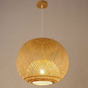 Unique Round Bamboo Pendant Light Rural Creative Pendant Light Tearoom Restaurant Lighting
