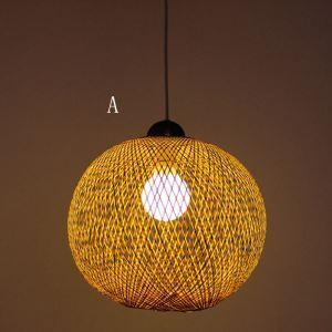 Rural Bamboo Ball Pendant Light Creative Modern Pendant Light Living Room Bedroom Dining Room Lighting