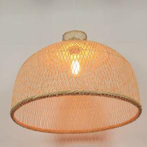 Semi Bamboo Basket Pendant Light Modern Round Pendant Light Living Room Bedroom lighting