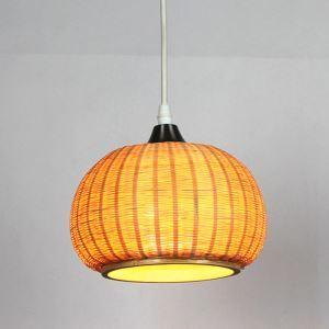 Simple Creative Bamboo Pendant Light Pumpkin Shape Pendant Light Living Room Study Bar Lighting
