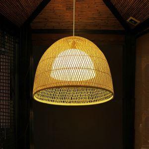 Hollow Dome Pendant Light Creative Bamboo Pendant Light Living Room Bedroom Hallway Villa Lighting