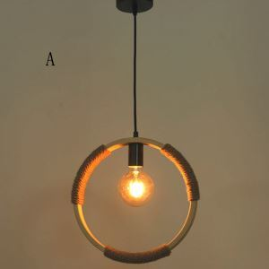 Vintage Bamboo Ring Pendant Light Industrial Retro Pendant Lighting Loft Dining Room Bar Lighting