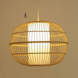 Round Cage Bamboo Pendant Light Japanese Simple Pendant Lighting
