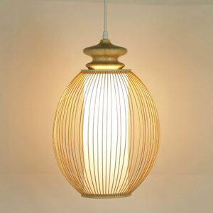 Elliptical Egg Design Pendant Light Modern Bamboo Pendant Light Bedside Hallway Lighting